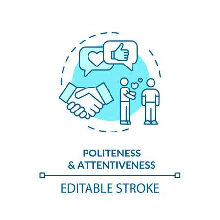 Politeness and attentiveness concept icon Illustration
