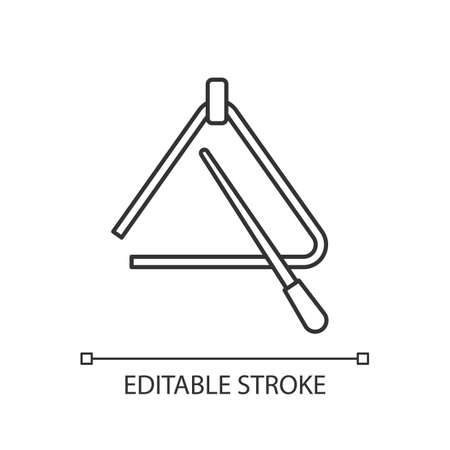 Triangle pixel perfect linear icon. Percussion tool for acoustic band performance. Thin line customization illustration. Contour symbol. isolated outline drawing. Editable stroke