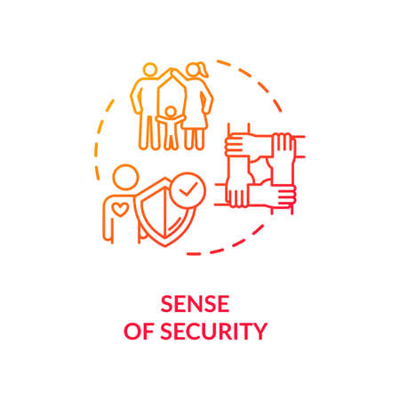 Sense of security concept icon. People teamwork. Cooperation and emotional support idea thin line illustration. Friends and family relationship. isolated outline RGB color drawing Illustration