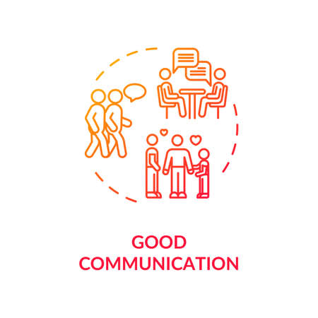 Good communication concept icon. Family relationship and friendship goals idea thin line illustration. People emotional support. isolated outline RGB color drawing Illustration