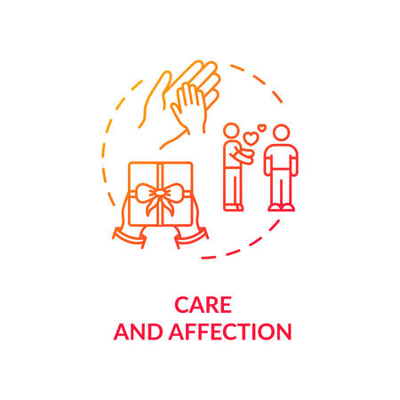 Care and affection concept icon. People help and emotional support idea thin line illustration. Partners, friends and family love. isolated outline RGB color drawing