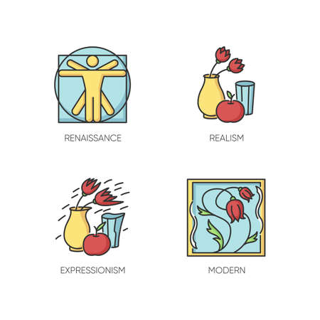 Cultural movements RGB color icons set. Renaissance and modern European art styles. Realism and expressionism paintings. Isolated vector illustrations Vektorgrafik