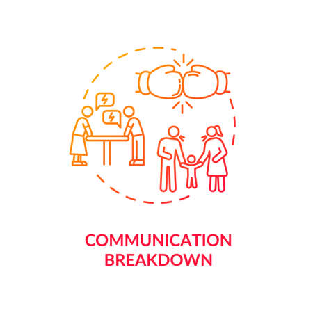 Communication breakdown concept icon. Family argument, partners conflict idea thin line illustration. Wife and husband dispute. isolated outline RGB color drawing