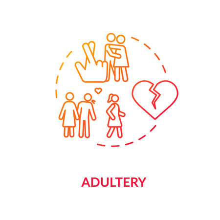 Adultery concept icon. Cheating idea thin line illustration. Boyfriend and girlfriend betrayal. Wife and husband divorce reason. isolated outline RGB color drawing