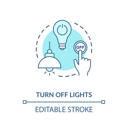 Turn off light turquoise concept icon