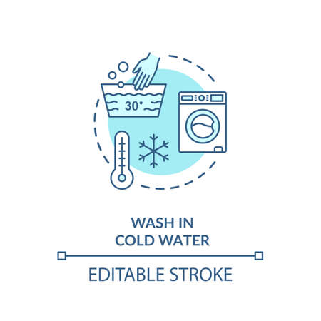 Wash in cold water turquoise concept icon