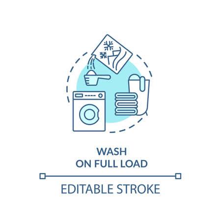 Wash laundry on full load turquoise concept icon Standard-Bild - 147207039