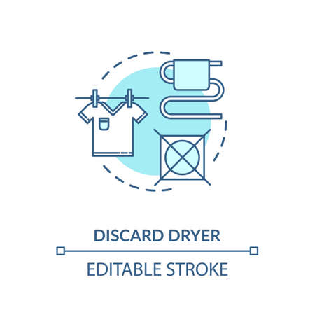 Discard dryer turquoise concept icon