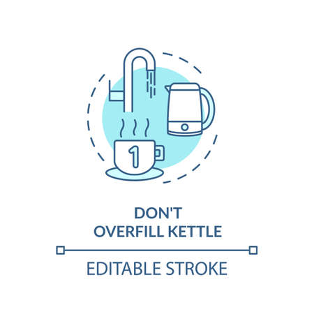Not overfill kettle turquoise concept icon Illustration