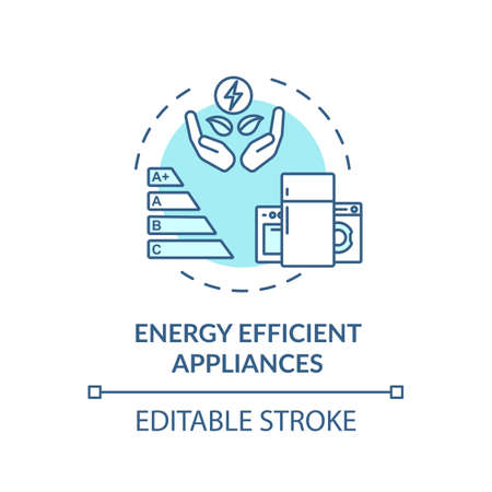 Energy efficient appliance turquoise concept icon