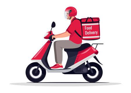 Urban food delivery semi flat RGB color vector illustration Vector Illustration