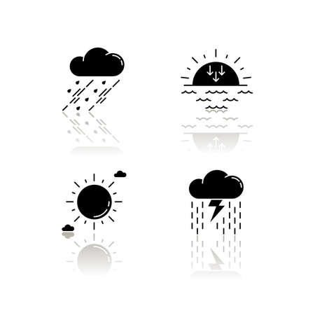 Daytime and nighttime forecast drop shadow black glyph icons set