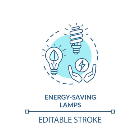 Energy saving lamp turquoise concept icon
