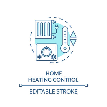 Home heating control turquoise concept icon Illustration