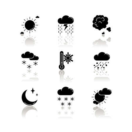 Sky clarity and precipitation drop shadow black glyph icons set