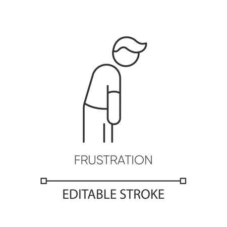 Frustration pixel perfect linear icon Ilustración de vector