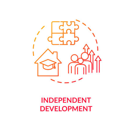 Independent development concept icon. Family relationship, successful parenting idea thin line illustration. Children home education. Vector isolated outline RGB color drawing