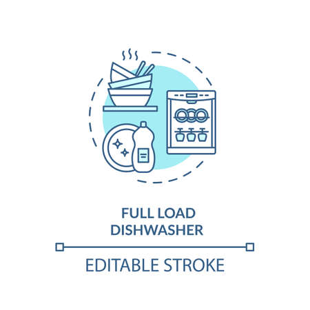 Full load dishwasher turquoise concept icon Standard-Bild - 147207217