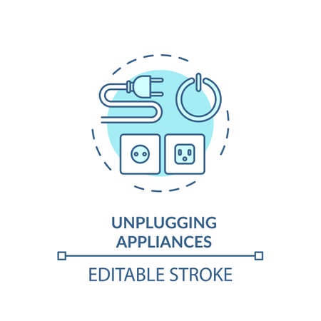 Unplugging appliance turquoise concept icon