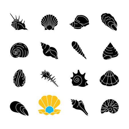 Seashells black glyph icons set on white space