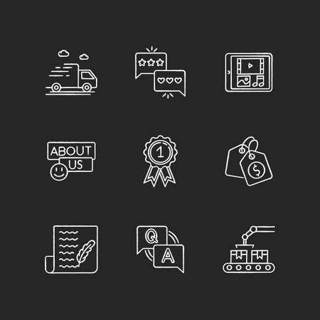 Social media presence chalk white icons set on black background Çizim