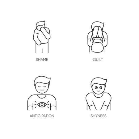 Human behaviour pixel perfect linear icons set