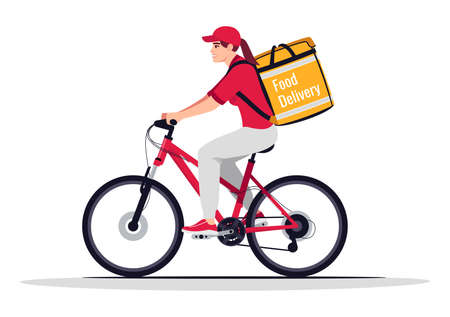 Female bike courier with food delivery semi flat RGB color vector illustration
