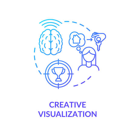 Creative visualization concept icon. Self growth, goals achievement idea thin line illustration. Positive mindset, using law of attraction. Vector isolated outline RGB color drawing