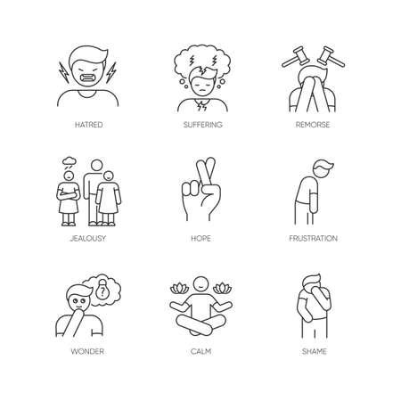 Ensemble d'icônes linéaires parfaites de pixel de sentiment