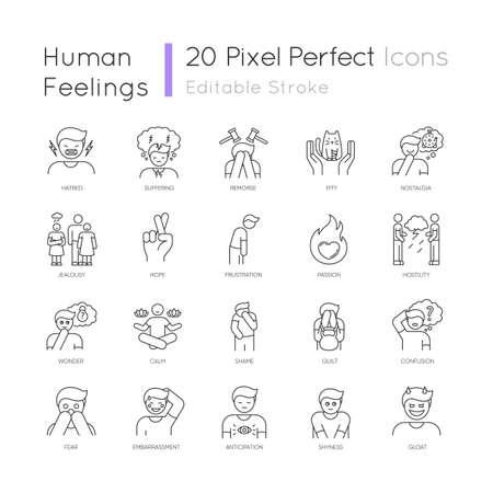 Human feelings pixel perfect linear icons set Vettoriali