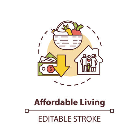 Affordable living concept icon. Residential property rent. Family housing. Economy on home. Real estate idea thin line illustration. Vector isolated outline RGB color drawing. Editable stroke Ilustração