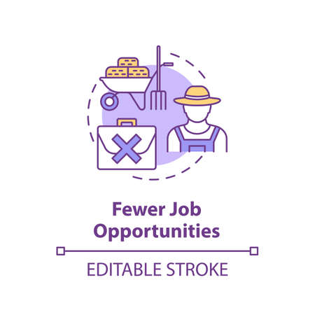 Fewer job opportunities concept icon