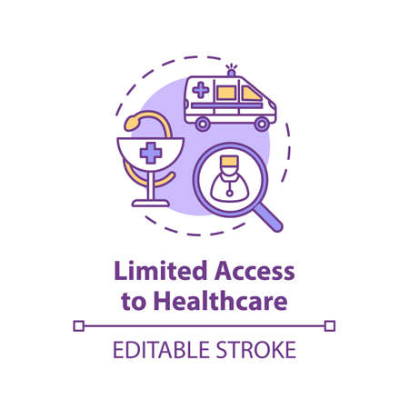 Limited access to healthcare concept icon Иллюстрация
