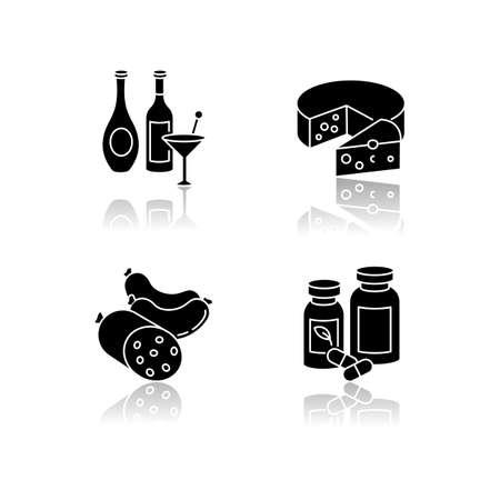 Grocery items drop shadow black glyph icons set 向量圖像