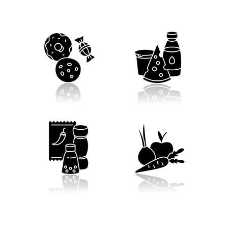 Supermarket food drop shadow black glyph icons set