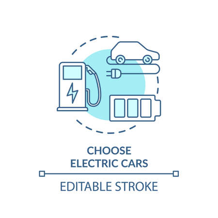 Choose electric cars turquoise concept icon