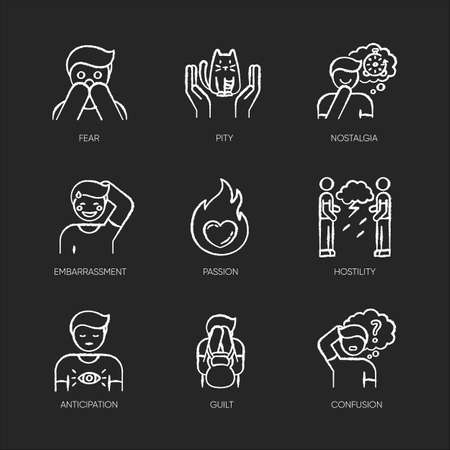 Emotion chalk white icons set on black background