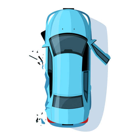 Crashed auto side semi flat RGB color vector illustration. Car accident. Collision on road. Claim insurance for vehicle. Blue sedan isolated cartoon object top view on white background