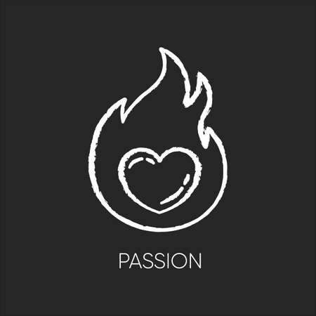 Passion chalk white icon on black background. Intense positive emotion. Affection and lust. Sexual drive. Desire from libido. Eager and attraction. Isolated vector chalkboard illustration