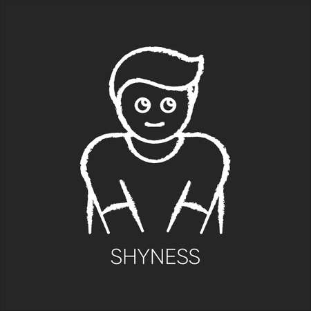 Shyness chalk white icon on black background. Person feeling awkward. Man embarrassed. Social anxiety. Low self esteem. Worry and doubt. Avoid eye contact. Isolated vector chalkboard illustration