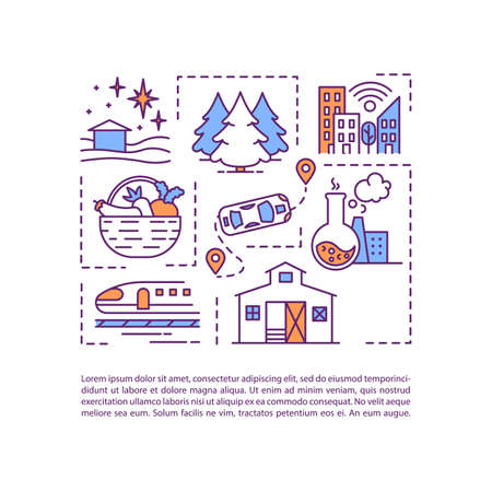 City and countryside concept icon with text Vector Illustration