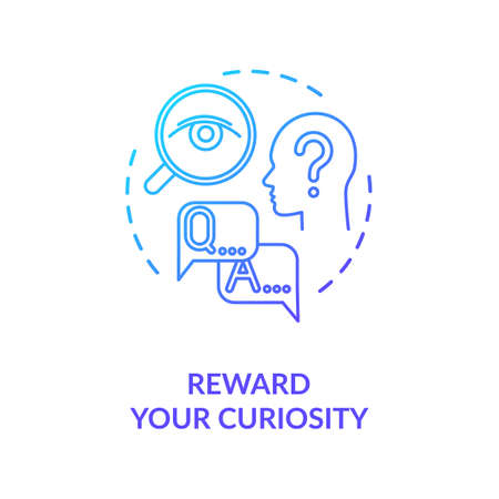 Reward your curiosity concept icon. Self motivation, being open to new idea thin line illustration. Personal development, self improvement. Vector isolated outline RGB color drawing 矢量图像