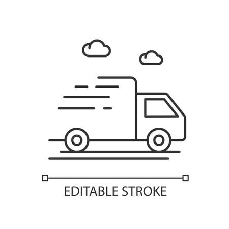 Delivery truck pixel perfect linear icon Stockfoto - 147207714
