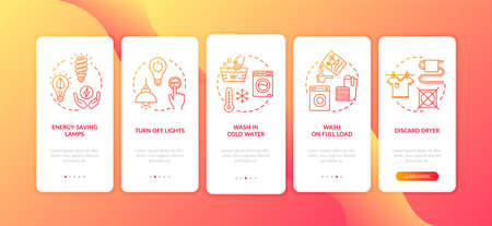 Energy saving tips onboarding mobile app page screen with concepts