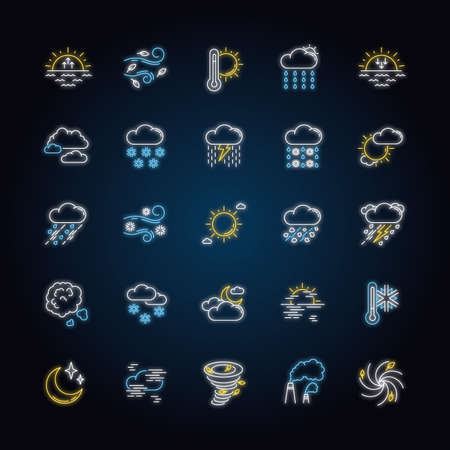 Weather neon light icons set. Meteorology signs with outer glowing effect. Sky condition prediction. Temperature, wind and atmospheric precipitation forecast. Vector isolated RGB color illustrations Illustration