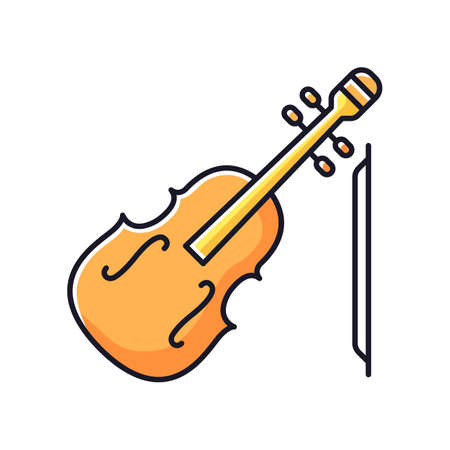 Violin RGB color icon. Orchestral musical instrument. Classical music performance. Fiddle symphony concert. Compose folk tune. Compose melody and play sound. Isolated vector illustration