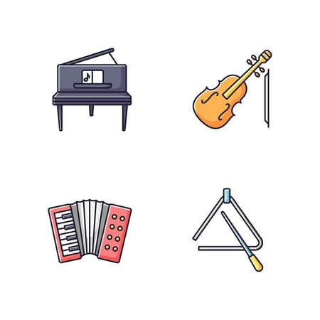 Music performance RGB color icons set