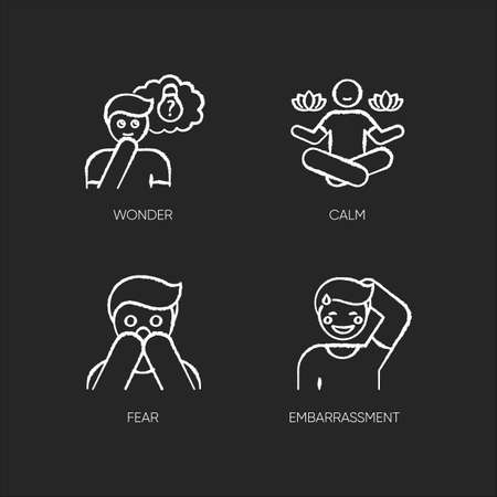 Mental state chalk white icons set on black background 일러스트