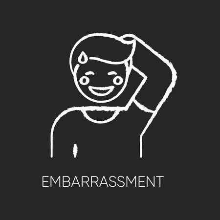 Embarrassment chalk white icon on black background
