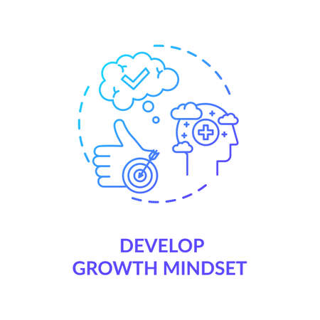 Develop growth mindset concept icon. Personal development, self improvement idea thin line illustration. Optimism, positiver attitude. Vector isolated outline RGB color drawing